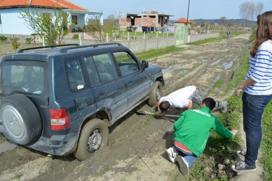 An albanian farmer/angle comes along to save the stuck tourists...